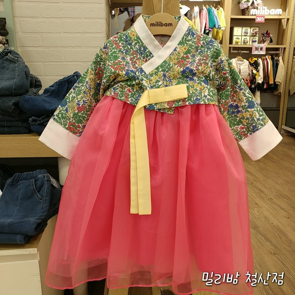 밀리밤 철산점 꽃무늬 저고리 꽃분홍 치마 여아 추석 한복 리버티