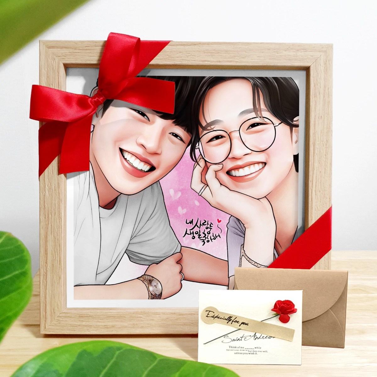 사진주문제작 감성 팝아트 초상화 캐리커쳐 20대 여자친구 커플 부모님 생일 기념일 선물, 그림속인원 2명 (POP 1750808626)