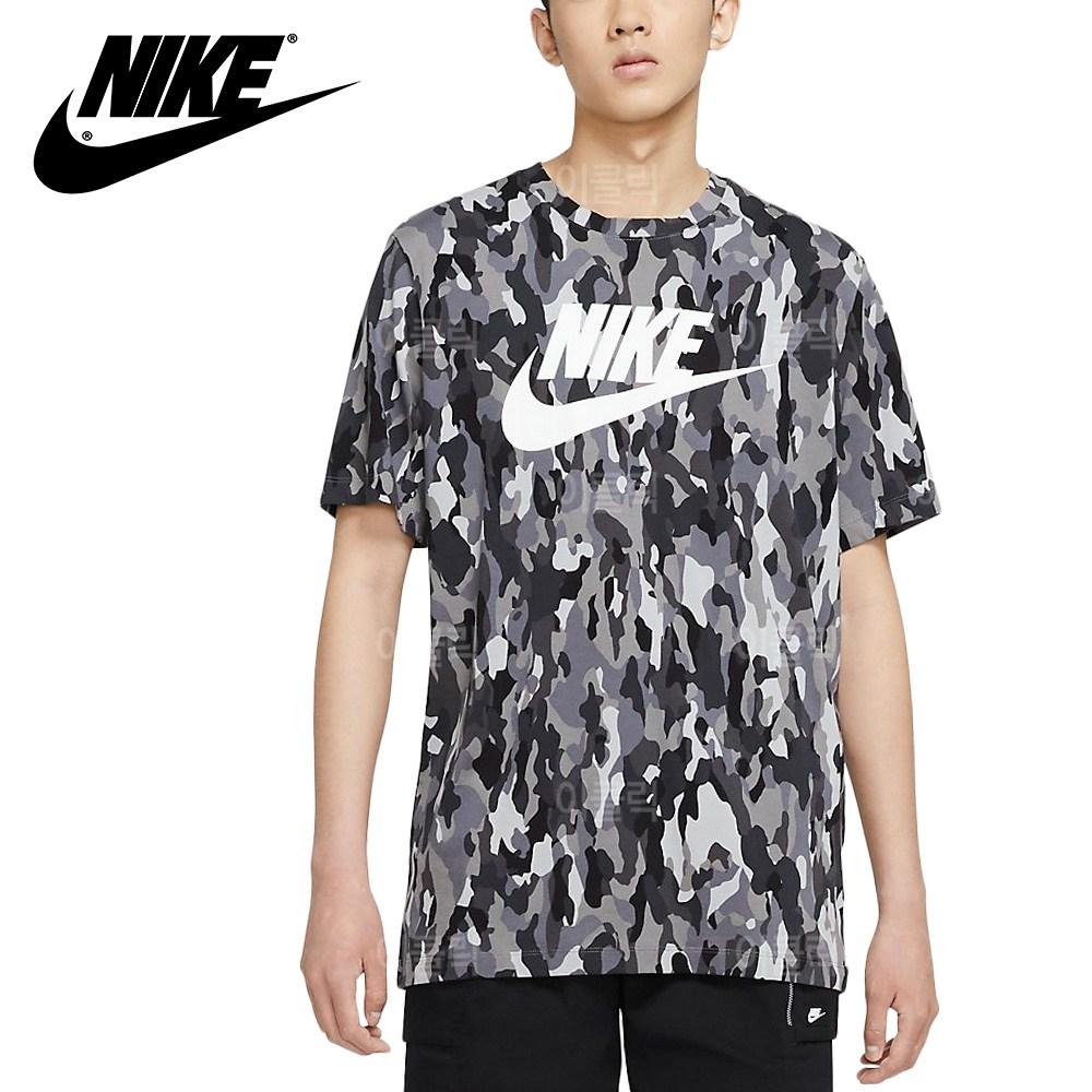 나이키 NSW 퓨추라 카모 반팔티 남자 여름 로고 스우시 티셔츠