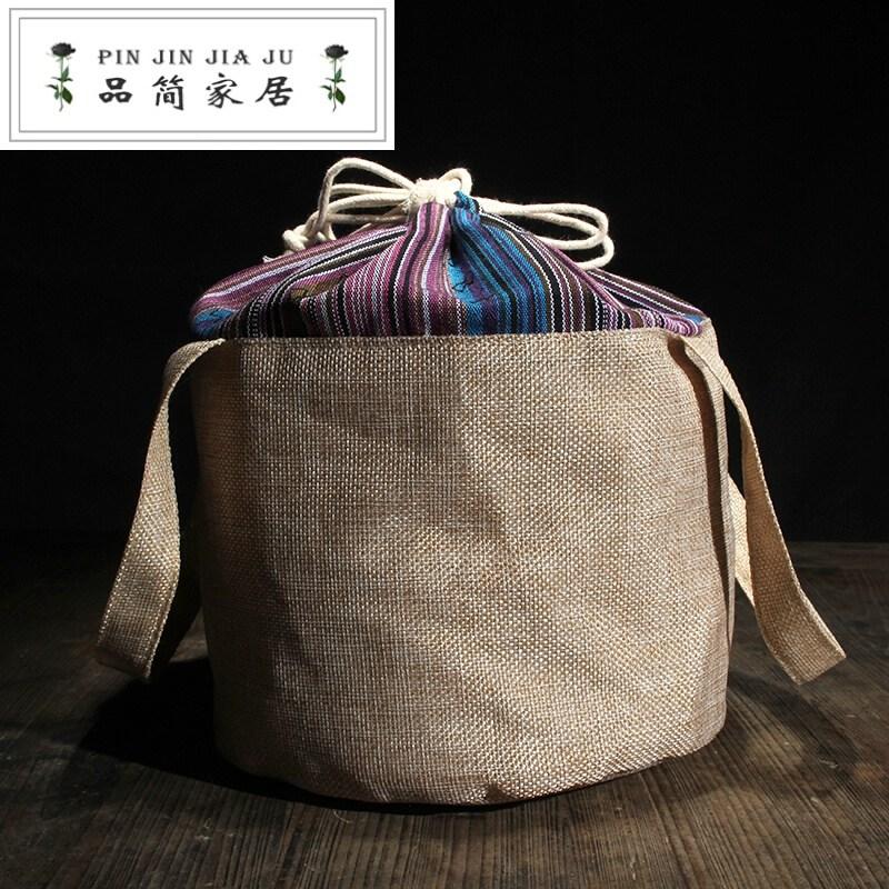 차전 수납 봉 지 는 칠 전 티 케 면 마 수납 가방 보이차 포장 자루 357 g 보관 하고 휴대 하기 편리 한 여행 포 봉투 꽃 색 1, 상세페이지 참조