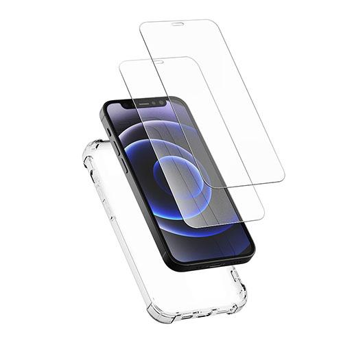 신지모루 범퍼강화 4DX 에어팁 케이스+2.5D 강화유리 필름 2매 1세트