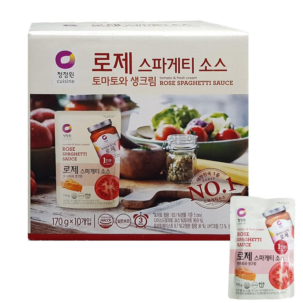 청정원 로제 스파게티 파스타 소스 토마토와생크림 파우치 개별포장, 10개, 170g