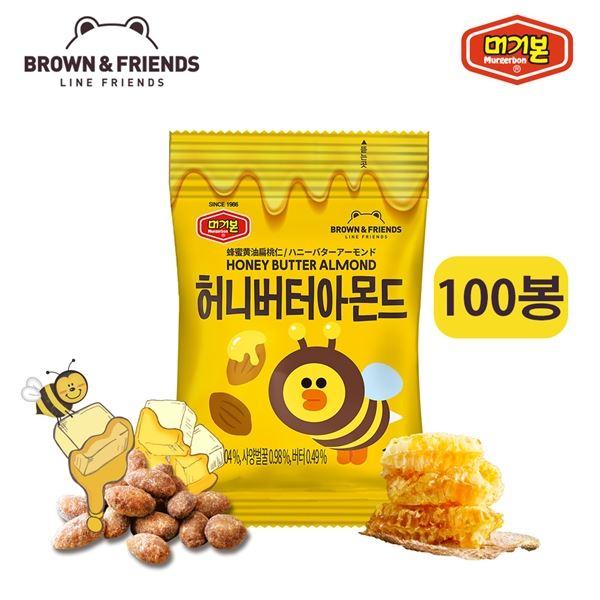 머거본 라인프렌즈 허니버터아몬드 꿀벌샐리 10g x100봉, 선택/단일상품