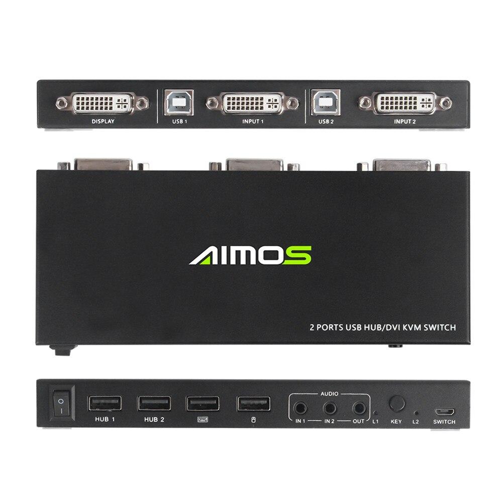 2 In 1 Out KVM 스위치 박스 USB DVI HDMI 호환 키보드 마우스 2 PC 공유 1 모니터 분배기 선택기 상자
