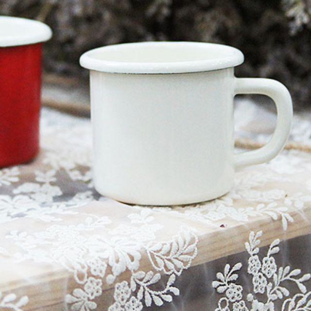 [DB+W27377E] 법랑머그컵 두께감있는 법랑소재 케이트 법랑 머그컵, 화이트