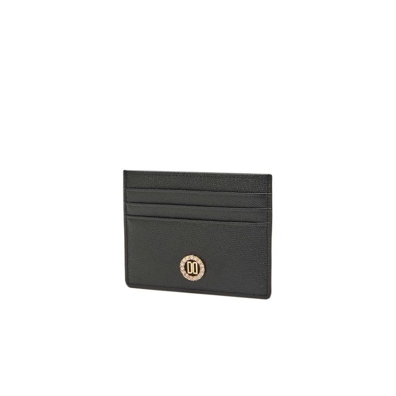 닥스 악세서리 여성 20FW [R.CRYSTAL]블랙 가죽 라운드 큐빅장식 카드지갑 DCHO0F980BK