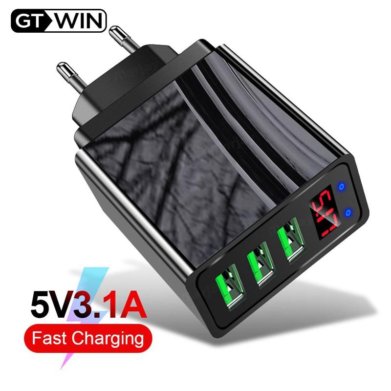 Gtwin 3a led 디스플레이 usb 충전기 빠른 충전 3.0 eu 미국 휴대 전화 3 포트 빠른 벽 충전기 아이폰 11 xs 7 삼성 xiaomi, 1개, EU Black