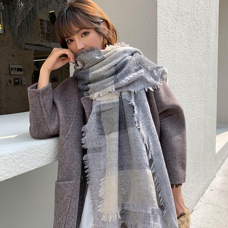 수출함 양털 울 스카프 여성 겨울 가을 100 더블레이어 체크무늬 펀칭 캐시미어 숄 깨지다 굴 숄체크