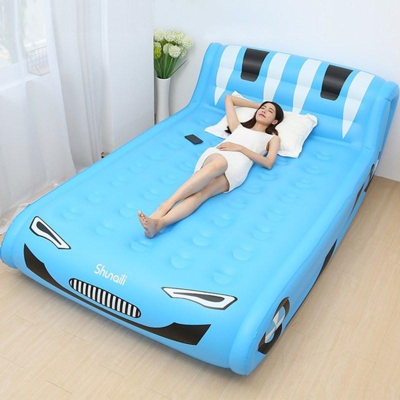 새로운 Lnflatable 침대 홈 더블 에어 베드 에어 매트리스 두꺼운 휴대용 에어 베드 야외 게으른 에어 베드 매트, 푸른, 중국