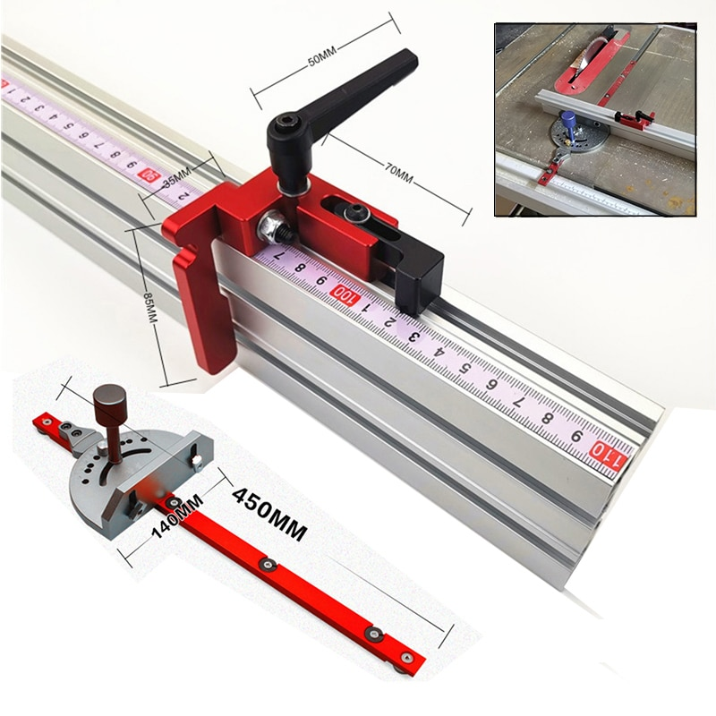 Aluminum Angle Miter Gauge Sawing Assembly Ruler Woodworking Tool 400mm Alluminium Fence for Table Saw Router Wood Working DIY|수공구 세트|, 1개(A0), 400mm Fence(A0)