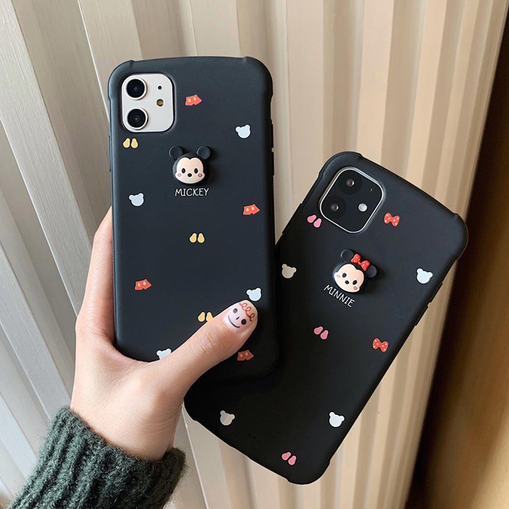 아이폰11 프로 맥스 XS XR 입체 마우스 데코 패턴 실리콘 커플 케이스