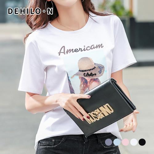 데일로엔 여성용 아메리카 텍스처 프린팅 반팔 티셔츠