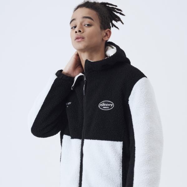 어드바이저리 Contrast Boa Fleece Hood Jacket - Black
