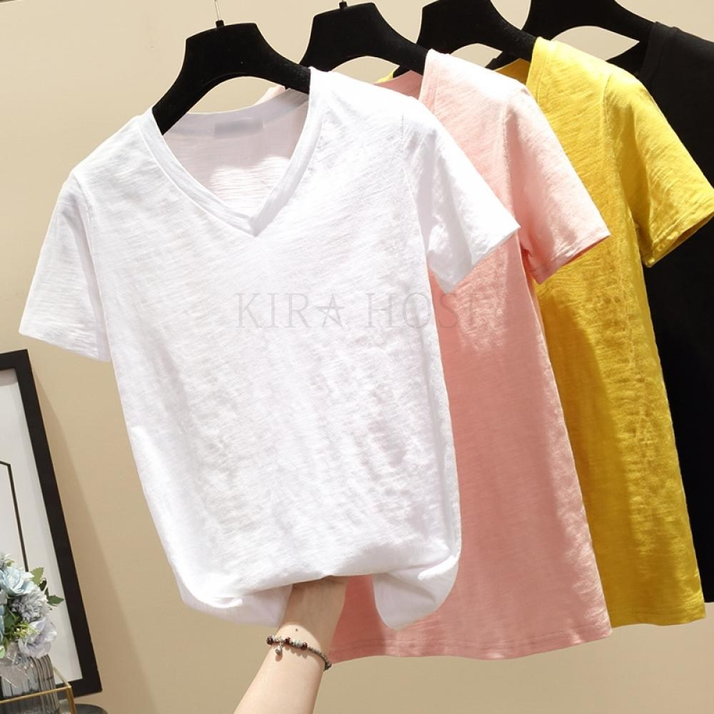 kirahosi 여성 반팔 티셔츠 여름 브이넥 반팔티 해외여행 여름옷 663 HR6+덧신 증정 AOpm0x8
