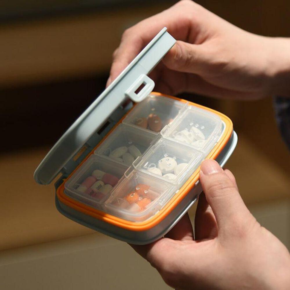 PILL CASE 휴대 포켓 약통 영양제 케이스 알약 보관함, 6칸 핑크