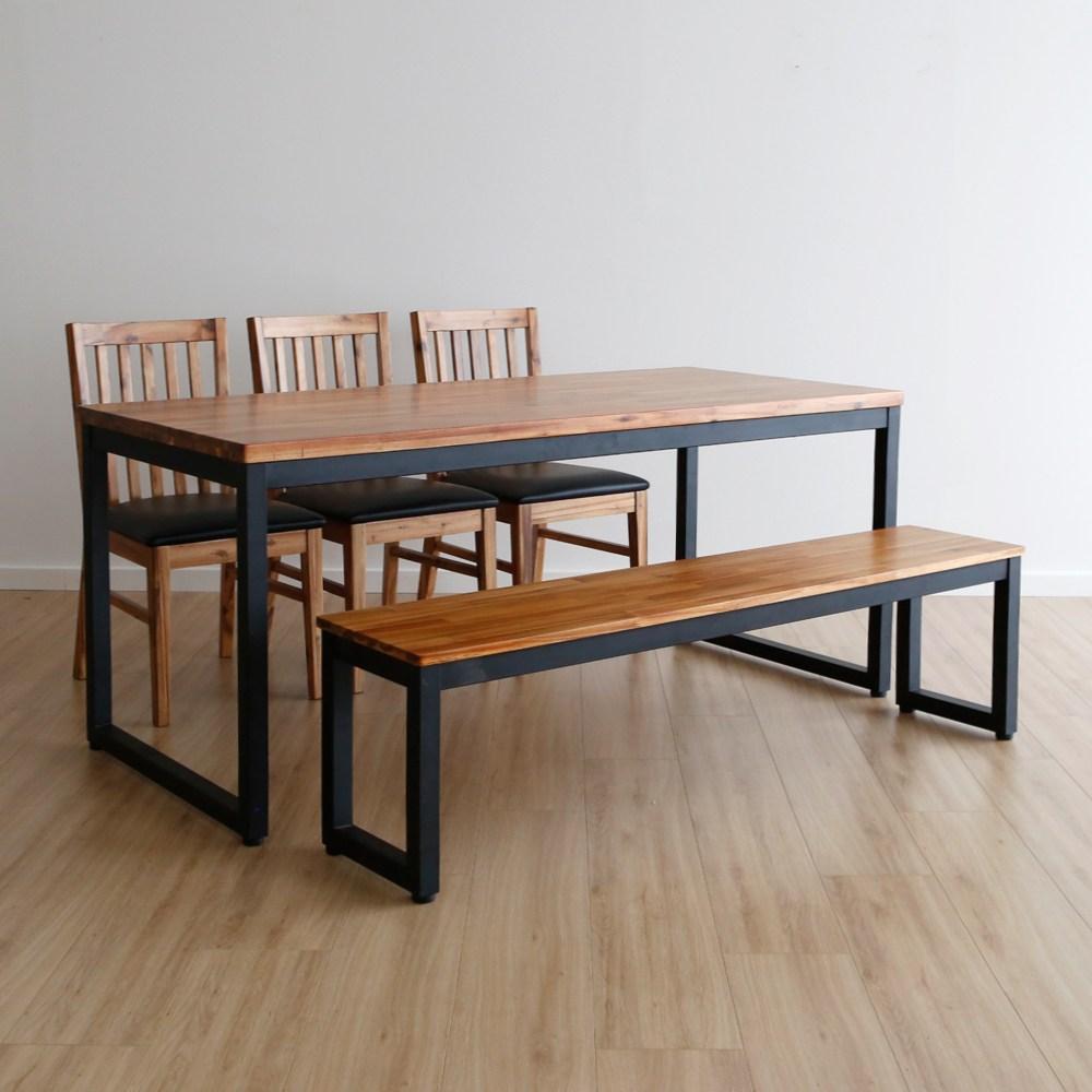 라미에스 키첸 6인식탁 원목 식탁세트, 04.키첸6인식탁1+벤치1+의자3