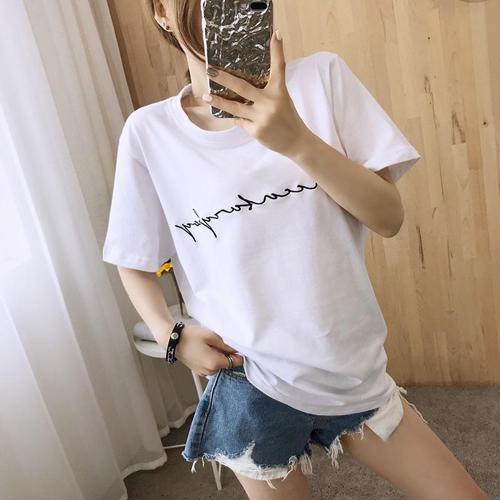2019 여름 여성 오버핏 티셔츠 실제 촬영 명소 2019 새로운 여성의 여름 느슨한 간단한 자수 편지 Baidu 흰색 반팔 T - 셔츠 여성