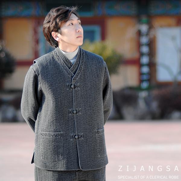 [10199] 겨울 잔골지 남자 누빔 3피스 한복 세트 겨울한복 겨울개량한복 겨울생활한복 아메카지