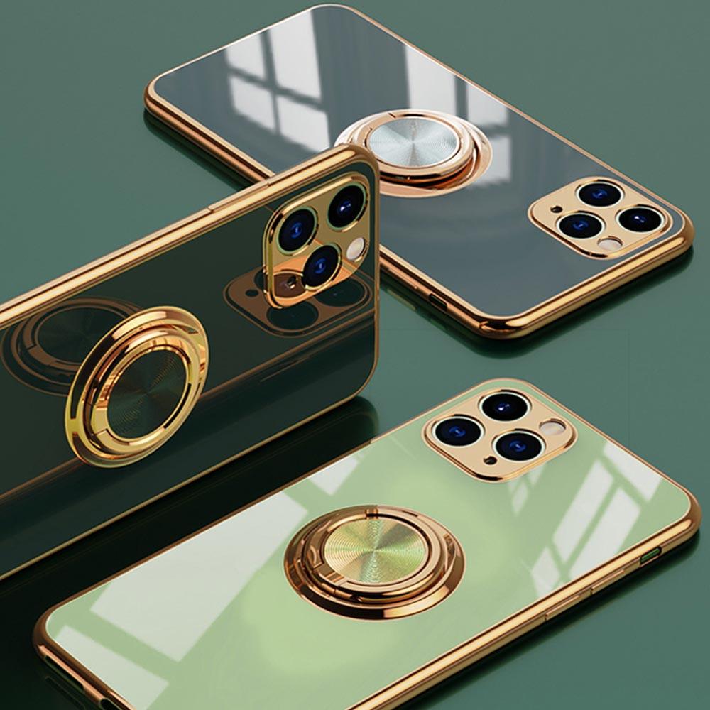 UNIQBLE 아이폰12 11 PRO MAX XR XS SE2 8 7+ 카메라보호 골드라인 글리터 실리콘 스마트링 휴대폰 케이스