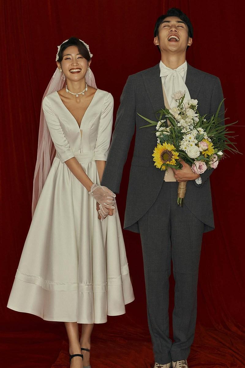 웨딩드레스 신부 복고풍 스몰웨딩 셀프웨딩 V넥 드레스