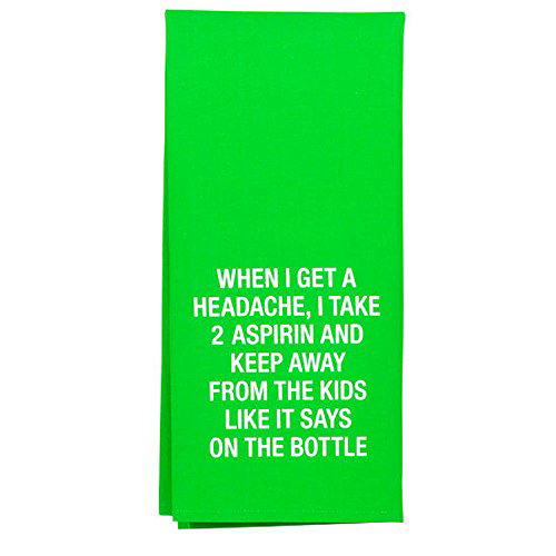 About Face Designs Headache Take 2 Aspirin Keep Away From Kids Cotton and Linen Towel 25.5 x 19 Inc, 1