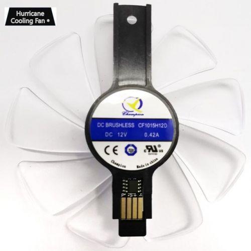 [해외] 95mm CF1015H12D 그래픽 카드 블루 Led 사파이어 니트로 RX480 RX470 RX580 RX570 RX590 RX 470 480 570 580 590 4G, White with Blue LED