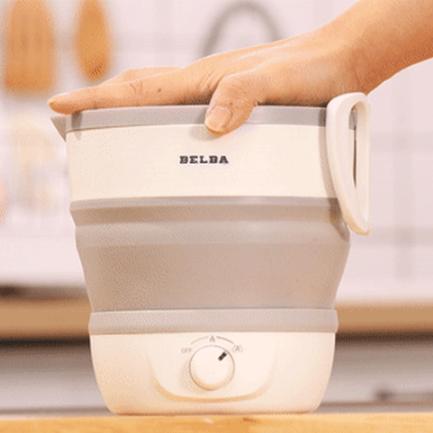 벨바 국산 즉석밥 햇반 접이식 폴딩 캠핑 전기포트 대용량 1.2L, 아이보리