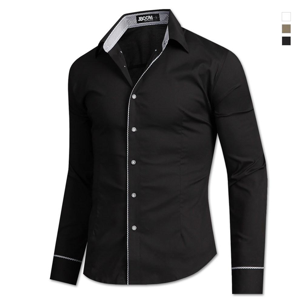 제이붐 남성용 고방체크버튼 면스판 긴팔셔츠 ST54
