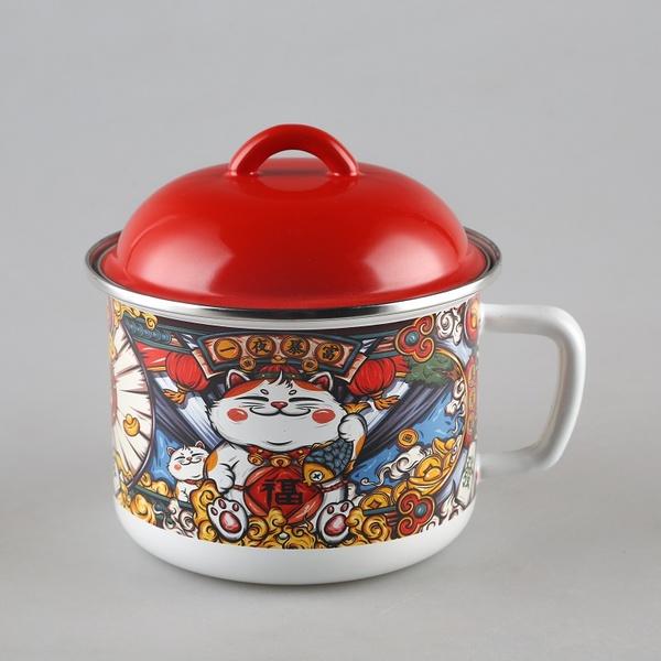 공간누리 범랑컵 법랑컵 마네키네코 고양이 법랑냄비 라면머그, 마네키네코(지름16cm-용량1.5L)