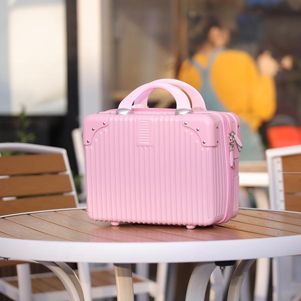 롱라움 14인치 미니 기내 소형 캐리어 미니메이크업박스 여행가방 분홍색