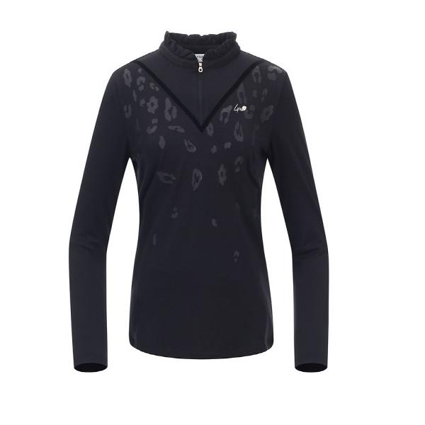 링스 링스 가을 여성 레오파드 프릴넥 티셔츠 L2193TO060_BK NC, BK