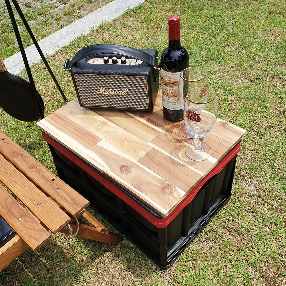 올부에노 캠핑 테이블 폴딩 박스 원목 우드 상판, 원목 아카시아 나무상판