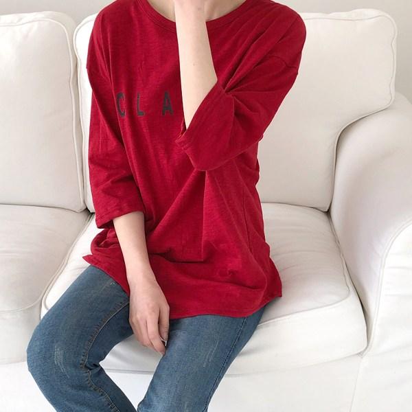 수맘 슬라브 라운드 7부 긴팔 티셔츠