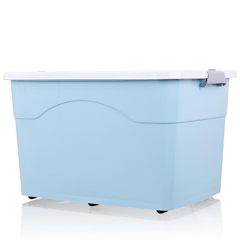 다용도 정리함 플라스틱 정리함 수납정리 수납함 리빙박스 옷 정리함 정리함 대형, 푸른개, 120L + 120L 세트 [봄과 가을 옷 트렁크