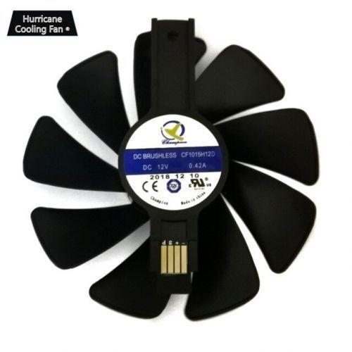 [해외] 95mm CF1015H12D 그래픽 카드 블루 Led 사파이어 니트로 RX480 RX470 RX580 RX570 RX590 RX 470 480 570 580 590 4G, Black