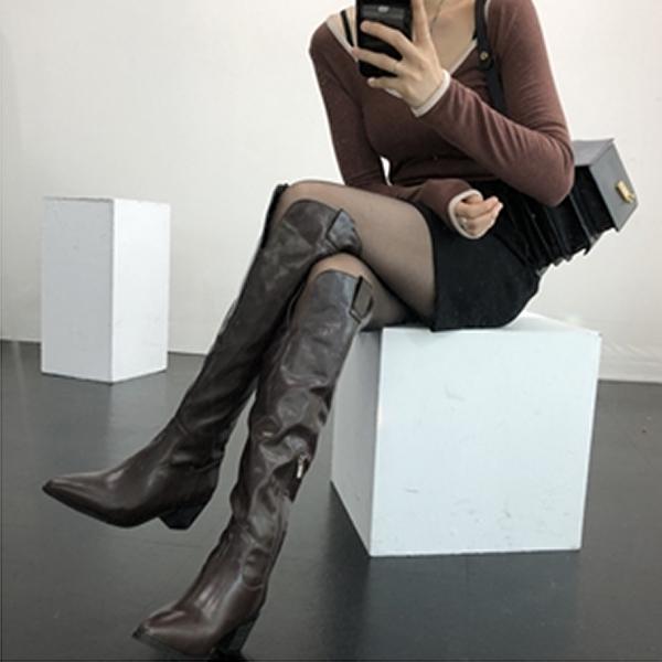 홍대언니 여성 레더 웨스턴 롱부츠 CA22A5262 (6cm)