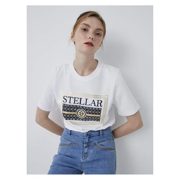 [현대백화점]에고이스트 EM2OTH02 [Blue Label] 텍스트 레터링 아트웍 반팔 티셔츠