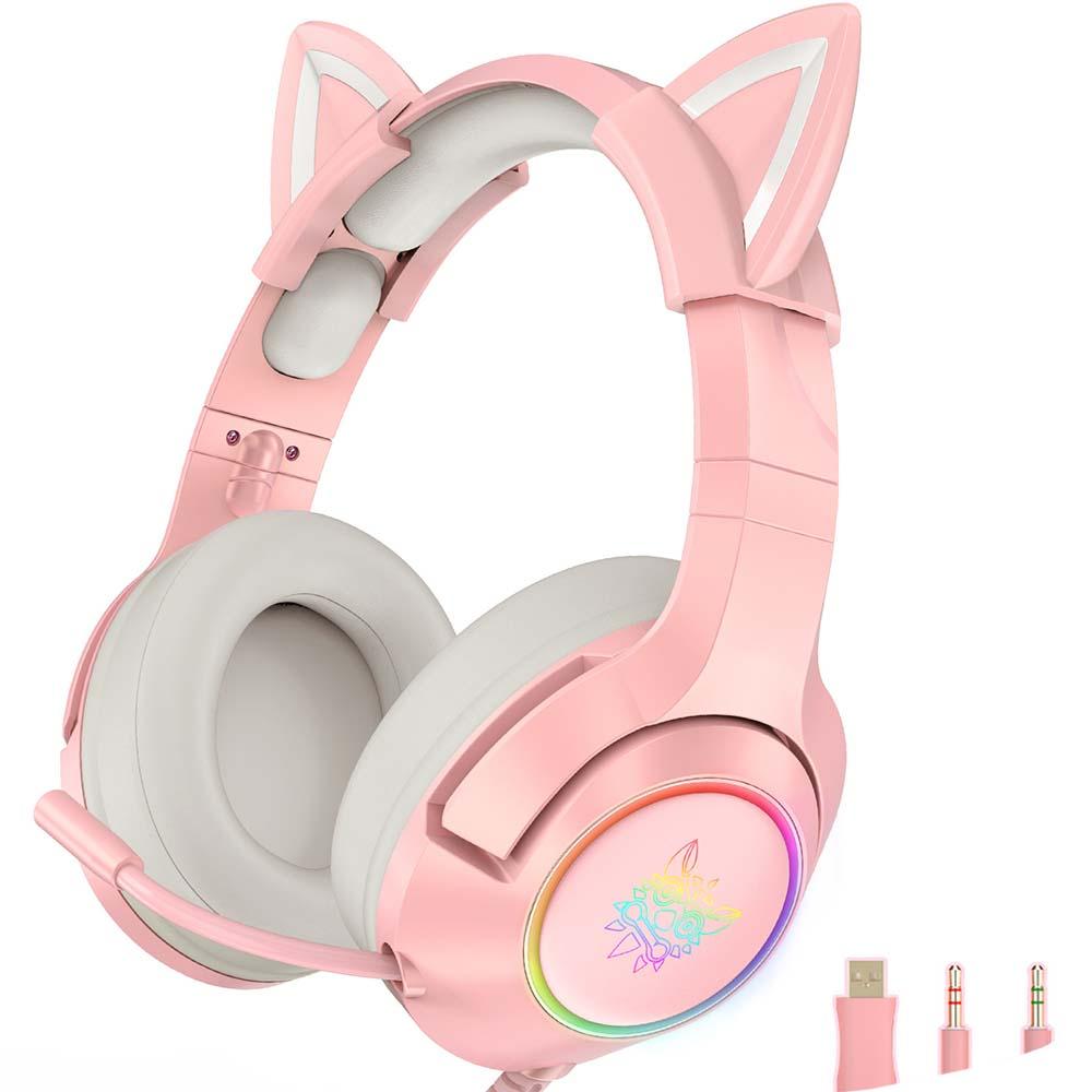 Qianyiyuan LED헤드셋 고양이귀헤드폰게이밍 헤드셋7.1 3.5, 핑크