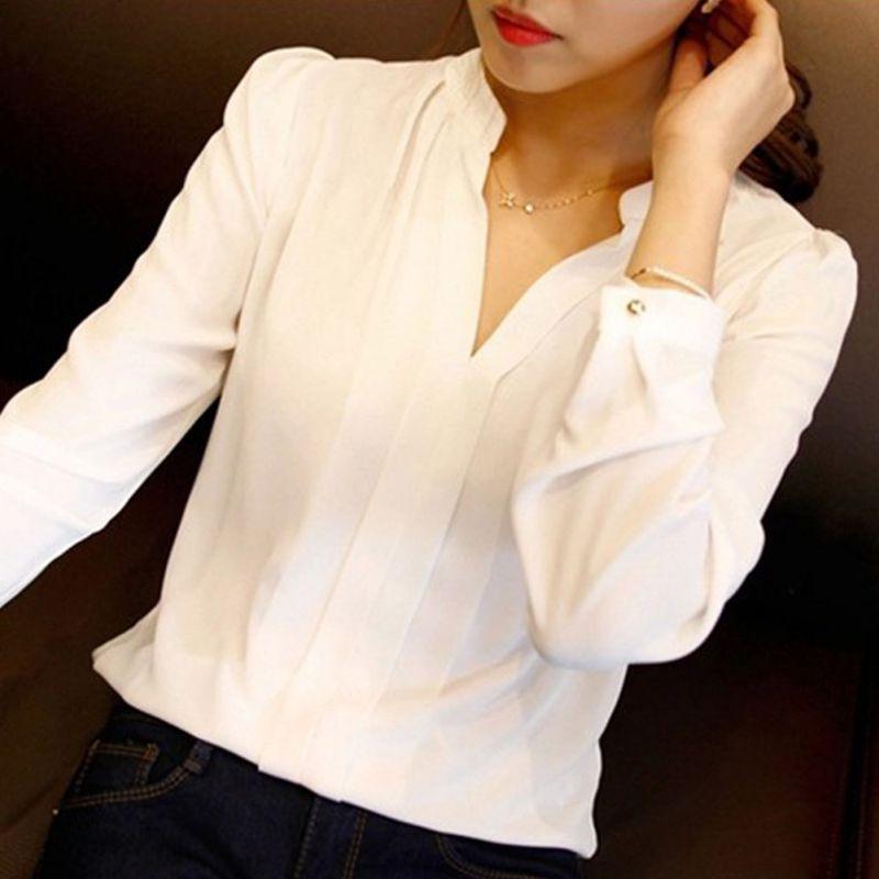 여름 패션 여성 쉬폰 블라우스 숙녀 화이트 우아한 ol 셔츠 여성 오피스 셔츠