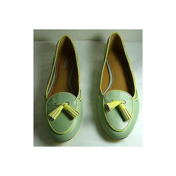 112013 코치 Malika Soft Mint 가죽 Flat Shoes 5-11