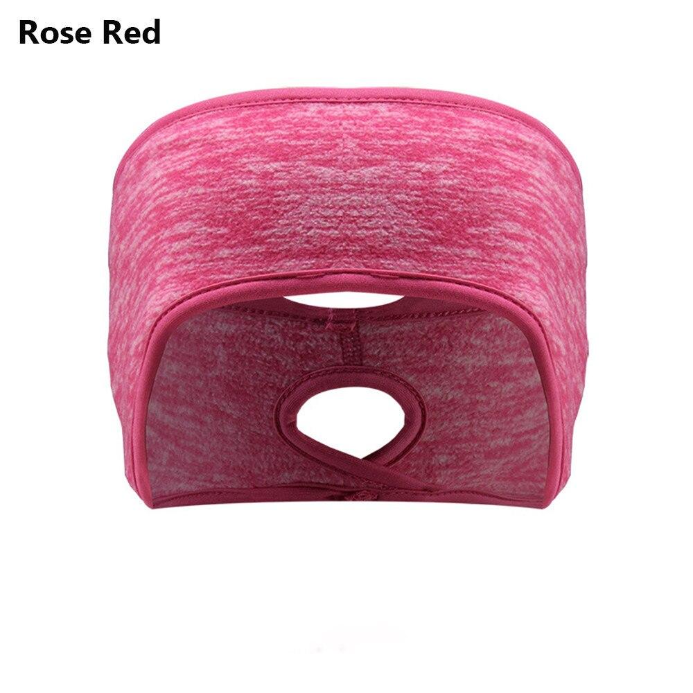러닝 헤드 밴드 포니 테일 머리띠 여성 남성 겨울 머리띠 귀 워머 여성 소녀 야외 스포츠 양털 귀 커버, B-rose red_10