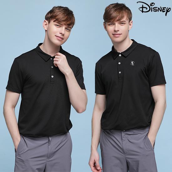 디즈니 [디즈니] 남성 라운딩 카라 티셔츠 블랙