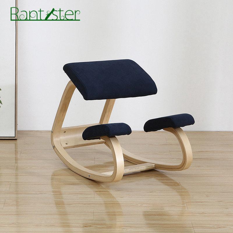 무릎의자 자세안정 허리 재택근무 필수의자 비대면 작업 원목 고급형, 우드 컬러 다크 블루 쿠션