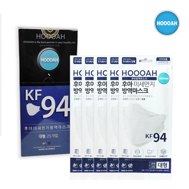 후아마스크 미세먼지 방역마스크(KF94)대형 1BOX(25매) 어른용, 단품, 단품