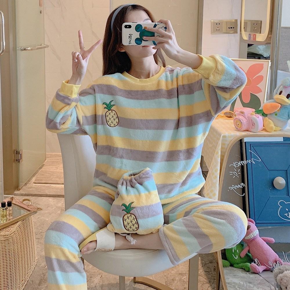 로리돌스 스트라이프 루즈핏 빅사이즈 수면잠옷 파자마 겨울홈웨어 QM5159
