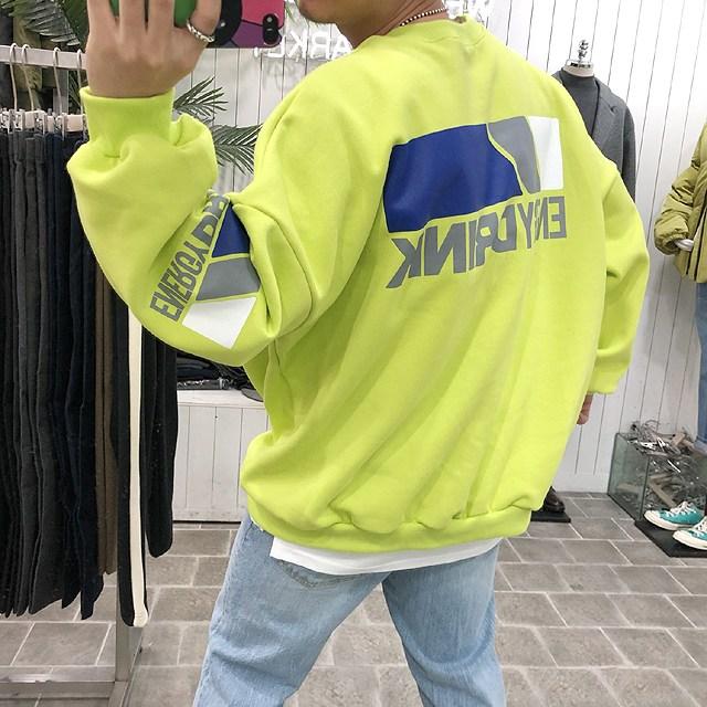 바나나마켓 겨울용 남자 에너지 오버핏 맨투맨[기모원단] 맨투맨