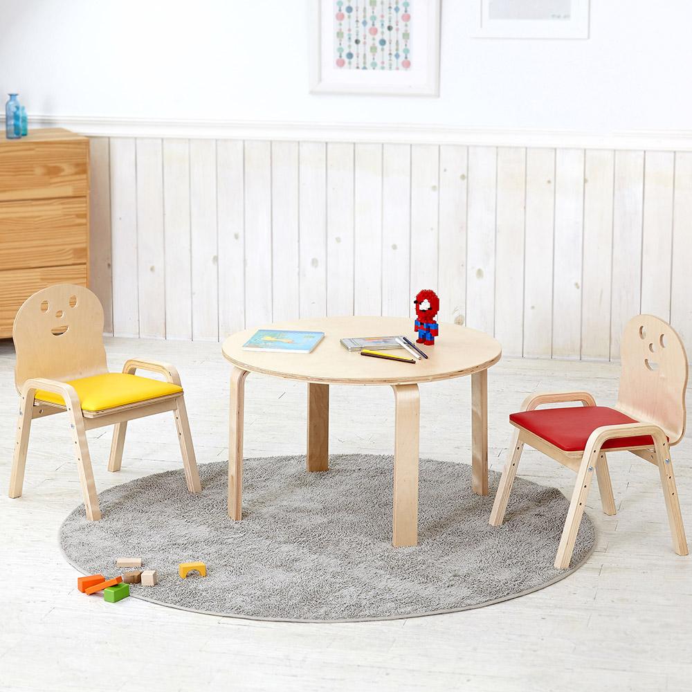 토리 원목 유아 쿠션의자 원형 책상세트 2-7세, 유아 원형 하늘 책상 / 쿠션의자 빨강 2개