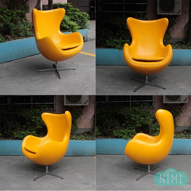 에그 인테리어 카페 식탁 의자 라운지 체어 부부의 세계 의자 1인용 독서 의자, 중형 싱글 체어 (고급 캐시미어 천 / 오일 왁스 PU 가죽)