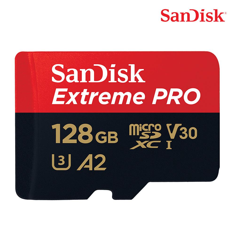 샌디스크 MicroSD 익스트림 프로 UHS-I 메모리카드 U3 4K, 128GB