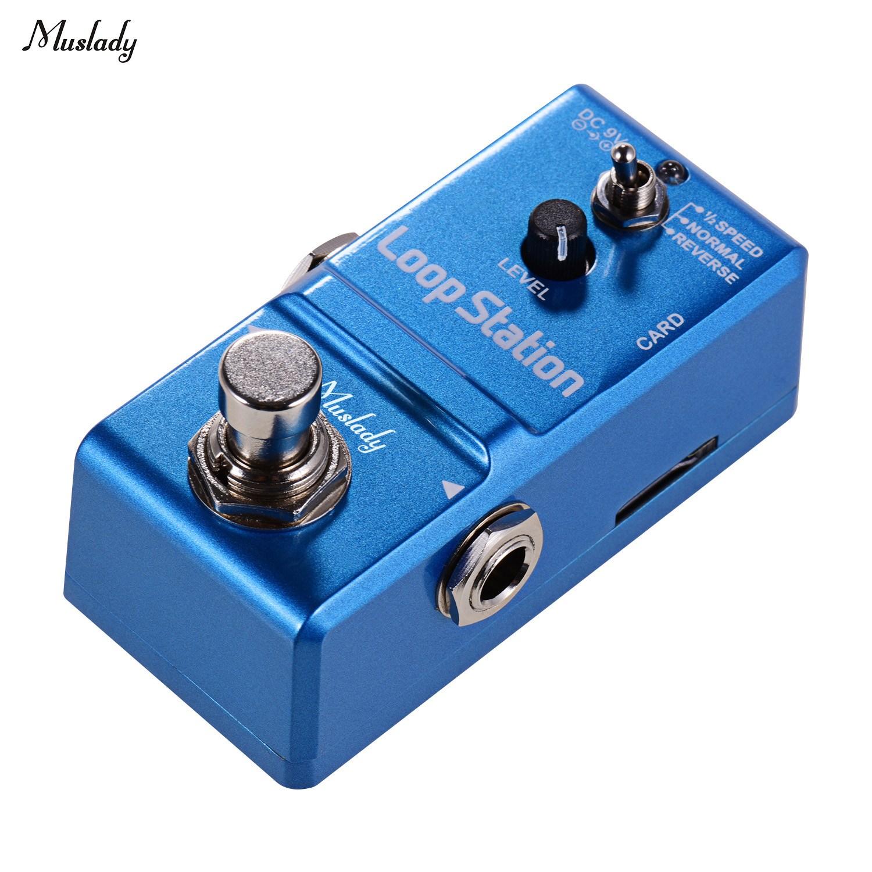 Muslady 8기가바이트 메모리 카드와 루프 스테이션 미니 기타 루퍼 효과 페달 10 분 녹화 시간 3 작업 모드 트루 바이 패스 풀 메탈 쉘, Blue